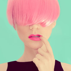 Girl with pink hair. Fashionable Trend