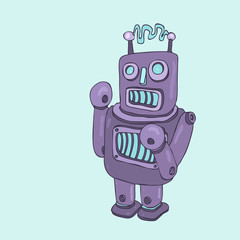 purple robot boxer, robot toy icon, android, vector illustration