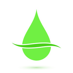 Green drop symbol, conceptual icon