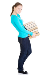 Young caucasian student with books
