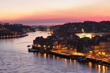 Porto cityscape and Arrabida bridge