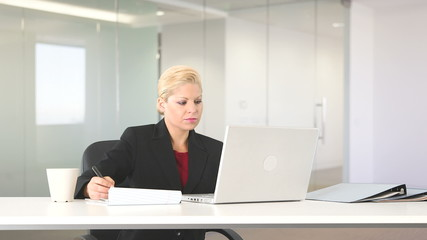 Executive businesswoman working with laptop at desk