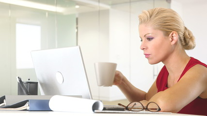 Businesswoman working with laptop at desk