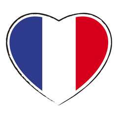 Cœur drapeau français. French flag in heart shape.