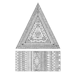 Original drawing tribal doddle triangle and banner.