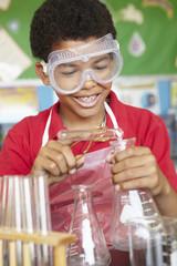 Boy in chemistry class