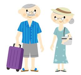 旅行する老夫婦