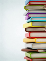 Colorful book stack with copyspace