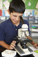 Boy in science class with microscope