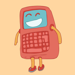 red mobile phone character with buttons, vector illustration