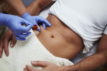Beautiful belly abdomen mesotherapy gun therapy