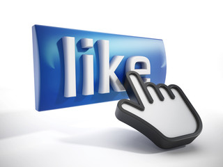 Hand cursor on like button