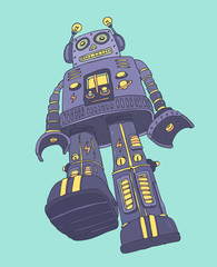 robot soldier, vector illustration, hand drawn