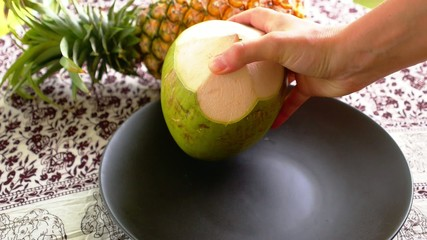 Putting a Variety of Exotic Tropical Fruits on the Plate.