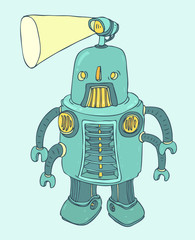 worker robot with a lantern on the head, vector illustration