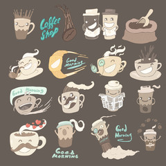 cup of coffee set, wonderful breakfast, vector illustration