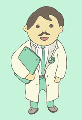 cartoon character doctor , young scientist, vector illustration