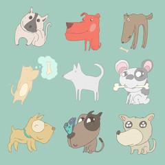 cute dogs set, vector illustration, hand drawn