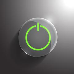 Vector glass circle power icon. Eps10