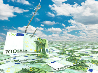 Euro and fish-hook on cloudscape. Financial concept..