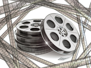 Film reels  and movie film strips.