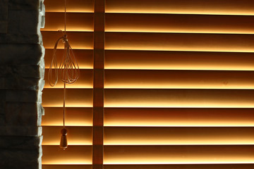 Window blind with natural light from outside