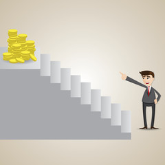 cartoon businessman focus at gold coin on top of stair