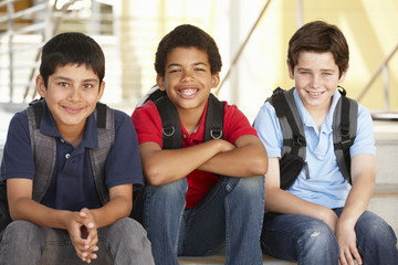 Pre teen boys in school