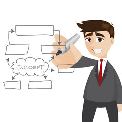 cartoon businessman writing business plan