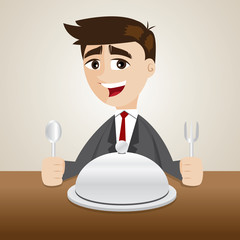 cartoon businessman with food tray on table