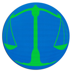 symbole de la justice sur sphère bleue