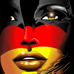 Germany Flag Girl Portrait