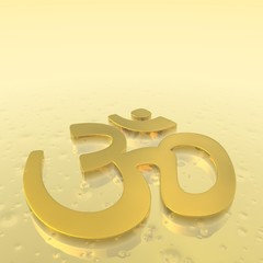 Golden aum symbol - 3D render