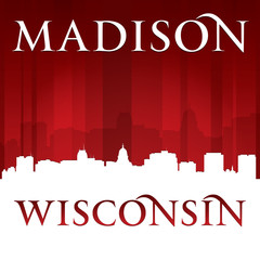 Madison Wisconsin city silhouette red background