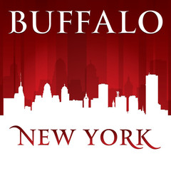 Buffalo New York city skyline silhouette red background