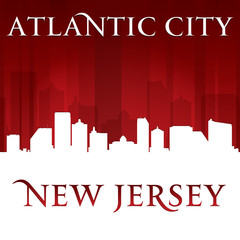 Atlantic city New Jersey skyline silhouette red background