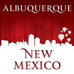 Albuquerque New Mexico city skyline silhouette red background