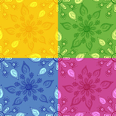 Set seamless floral backgrounds