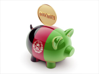 Afghanistan. Education Concept Piggy Concept
