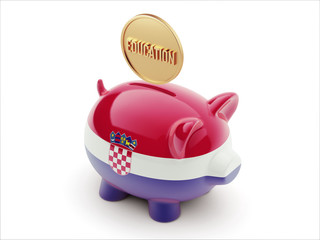 Croatia. Education Concept Piggy Concept