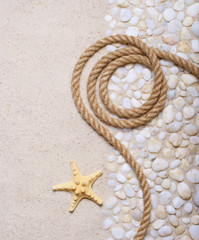 Rope and starfish on sea pebbles