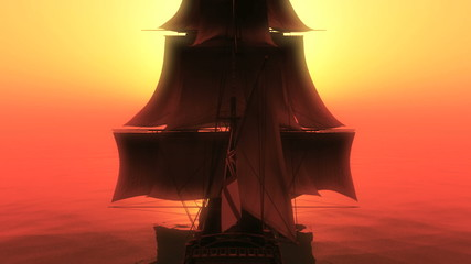 ship sunset