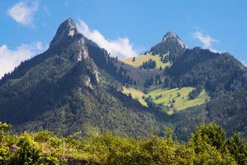 Dent de Broc and Dent du Chamois in La Gruyere, Switzerland