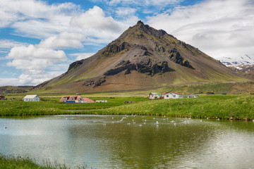 Scenic landscape with village and volcano in Iceland.