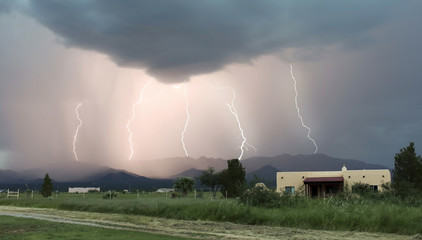 A Dance of Five Lightning Bolts in the Mountains