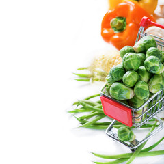 Fresh vegetables over light background