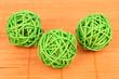 wicker bamboo balls on bamboo mat