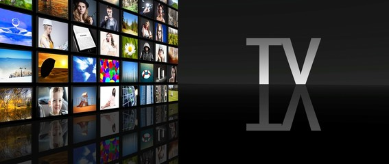 Television screens black background