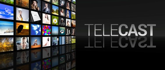 Telecast Television screens black background