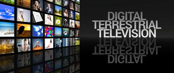 Digital terrestrial television screens black background